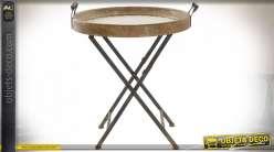 Table auxiliaire pliante en bois de sapin finition naturelle et blanche,