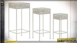 TABLE AUXILIAIRE SET 3 MÉTAL 30X30X70
