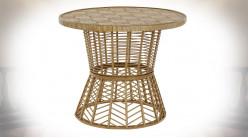 TABLE AUXILIAIRE ROTIN 61,5X61,5X51 NATUREL