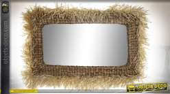 Grand miroir mural de style tropical en jonc de mer tressé, 115cm