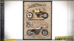 Décoration murale à deux horloges motos dorées et argentées esprit rétro, 80cm