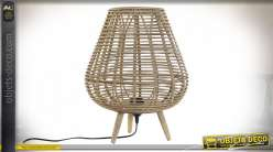 LAMPE DE TABLE BAMBOU 33X33X41 FEUILLES NATUREL
