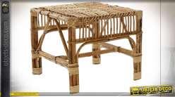 Petite table auxiliaire carrée en rotin finition naturelle esprit campagne chic, 45cm