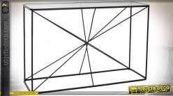 Console de style moderne en verre et pied en tiges de métal entrecroisées finition noire, 120cm
