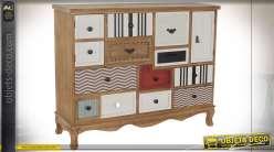 Commode à onze tiroirs en bois multicolore de style éclectique, 115cm