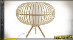 Lampe de table ronde sur trépied en lamelles de bambou finition naturelle style tropical, 40cm