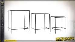 TABLE AUXILIAIRE SET 3 MÉTAL 60X40X69 NOIR