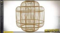 Abat-jour en tiges de bambou finition naturelle style tropical, 38cm