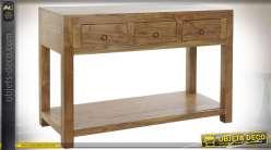 Console à trois tiroirs en bois massif d'acacia esprit chalet finition naturelle, 110cm