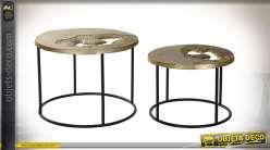 Série de deux tables auxiliaires design moderne en aluminium et fer finition noire et dorée, 60cm