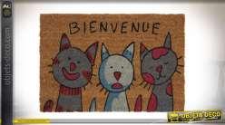Paillasson en coco avec motifs de chats imprimés et inscription Bienvenue, envers latexé 40x60cm