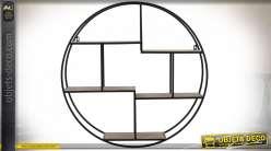 Étagère circulaire murale en bois et métal finition chêne clair et noire style industriel, 80cm