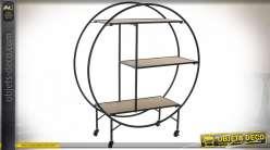 Étagère mobile circulaire en bois et métal finition noire et chêne clair sur roulettes de style industriel, 102cm