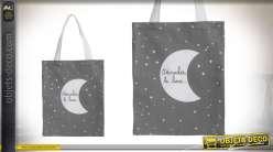 Sac en toile avec grandes anses de transport, ciel étoilé gris foncé et quart de lune blanc, 40cm