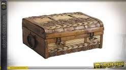 Coffret masculin en bois, jonc de mer et bambou tressé, avec anses sur les cotés, finitions brunes reflets dorés