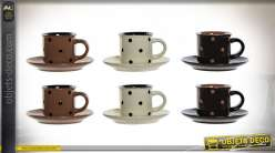 COFFRET TASSE CAFÉ SET 6 GRÈS 90 ML.