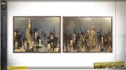 Série de deux tableaux style urbain New-Yorkais représentant l'Empire state et Chrysler buildings, 120cm