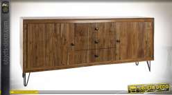 Buffet de style rétro, façades de portes en bois d'acacia ondulé finition brun clair, 178cm