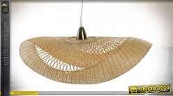Suspension luminaire libellule de style exotique en bambou finition naturelle, 70cm