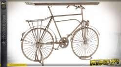 Console en forme de vieux vélo finition cuivrée brossée style rétro, 115cm