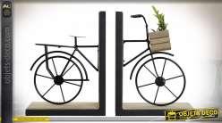 Serre-livres vieux vélo noir en bois et métal esprit rétro, 28cm