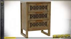 Table de chevet style ethnique, façades de tiroirs en bois sculpté de motifs géométriques finition brun foncé, 66cm
