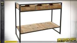 Console esprit vieux meuble d'exposition vitré finition naturelle et noire de style industiel, 100cm