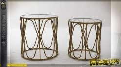 Série de deux tables auxiliaire imitation bambou et plateau en verre transparent de style tropical, 51cm