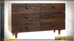 Commode six tiroirs en bois d'acacia et bois recyclé, finition brou de noix et brun clair style chalet, 135cm