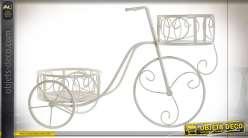 Support pots de fleurs vieux vélo en métal finition blanche de style romantique, 65cm