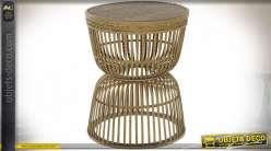 Table auxiliaire en rotin tressé finition naturelle style tropical, 51cm