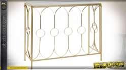 Console de style moderne design finition noire et dorée, plateau en verre, 92cm