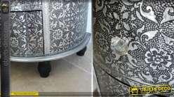 Grand chiffonnier noir et argent en demi-lune avec 6 tiroirs