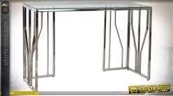 Console en verre et acier finition argentée de style contemporain moderne, 120cm