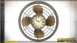 Horloge murale en forme de vieux ventilateur doré et noir de style industriel, 60cm