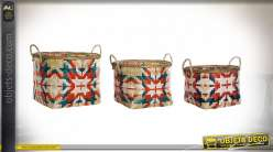 CORBEILLE SET 3 BAMBOU 43X33X32 NATUREL