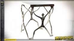Table auxiliaire en aluminium finition argentée de style moderne design, 46cm