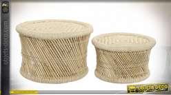 Série de deux tables basses circulaires de style exotique en fibre végétale tressée finition naturelle, 60cm