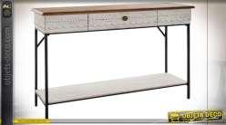 Console en bois et métal style boho, patine blanche et brun clair effet vieilli, 120cm