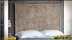 Tête de lit en bois sculpté de fleurs tropicales finition chêne clair style exotique, 160cm