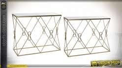 Série de deux tables consoles style moderne chic, plateaux en miroir finition dorée, 102cm