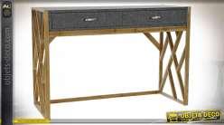 Console style éclectique en bois et métal finition grise et chêne clair, 119.5cm