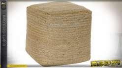 Repose-pieds cubique en fibre végétale tressée finition naturelle, esprit boho chic, 45cm