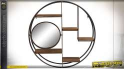 Étagère murale circulaire en métal noir et bois finition brun foncé de style industriel, miroir rond pivotant, 70cm