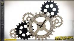 Horloge murale engrenages en bois finition noire et beige esprit industriel Anglais, 60cm