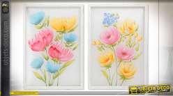 Série de deux tableaux décoratifs de fleurs aux couleurs pastels sur toile en nylon, 100cm