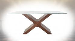 TABLE VERRE MDF 180X100X76 MARRON
