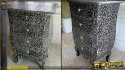 Chiffonnier à 4 tiroirs noir et argent de style marocain