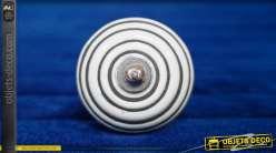 Bouton de meuble sphérique en céramique blanche avec motifs de zébrures noires, ambiance rétro années 70, Ø4cm