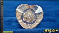 Bouton de meuble décoratif en forme de cœur, en verre translucide taillé et poli, légère finition rose pâle effet rétro, Ø4cm